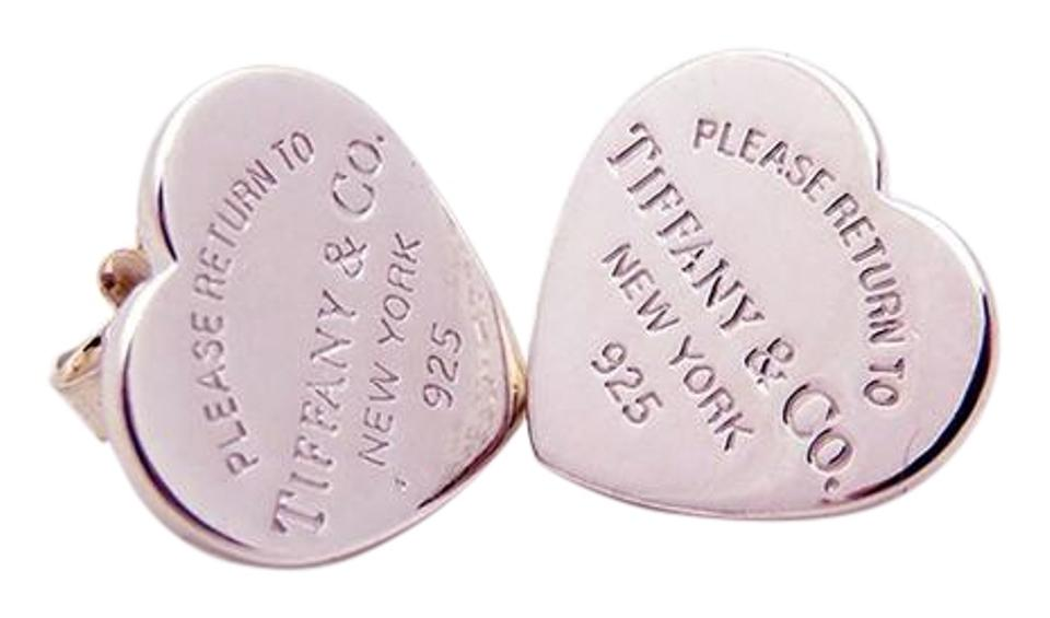 Tiffany Co Please Return To Sterling Silver Large Heart Stud Earrings