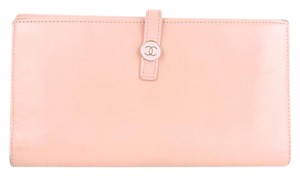 Chanel Pink Button Line Long Wallet 221187