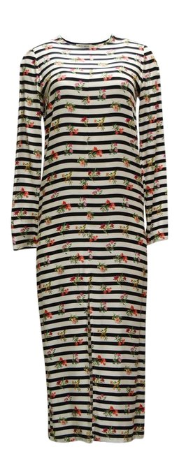 Item - Multicolor Floral Striped Long Casual Maxi Dress Size 4 (S)