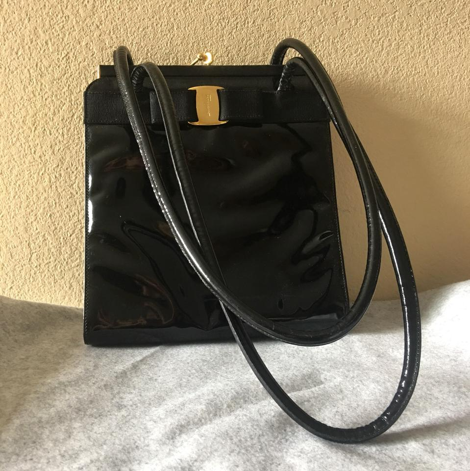 Salvatore Ferragamo Vara Ribbon Black Patent Leather Shoulder Bag - Tradesy 863f057426c47