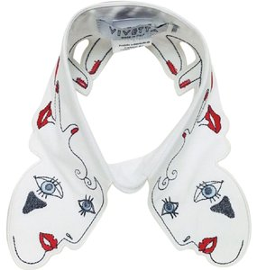 Vivetta Collar Embroidered Hearts Eyes Top White