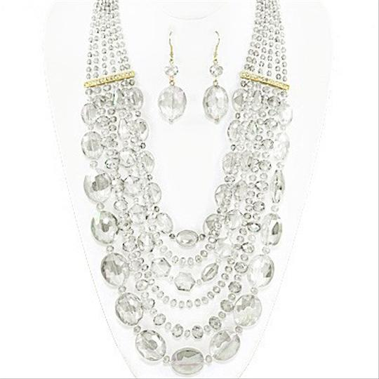 Other Glass Bead Stones Crystal Accent MultiStrand Necklace Set