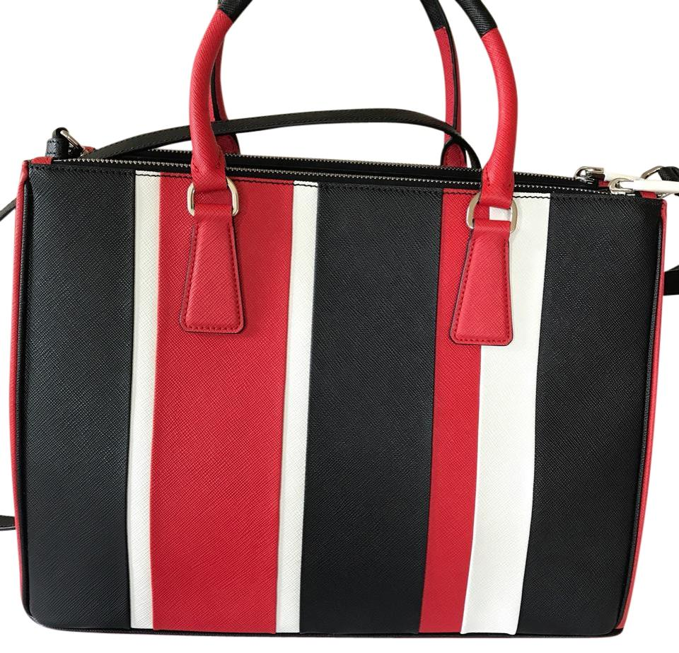 dbba90545863 Prada Bag Galleria Baiadera Striped Red/White/Black Saffiano Leather ...
