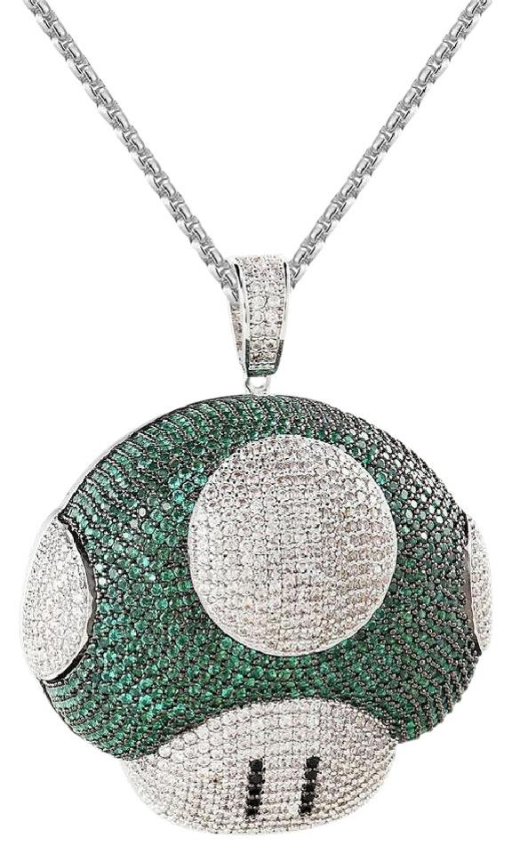 Master of bling multicolor mens iced out green mushroom mario master of bling mens iced out green mushroom mario pendant 14k finish free chain aloadofball Gallery