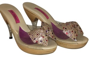 Betsey Johnson clear, silver, pink and purple. Sandals