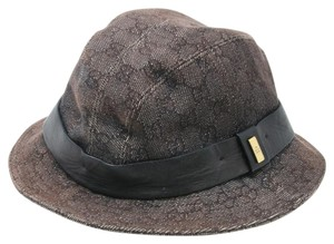 Gucci Signature GG Denim Canvas Vintage Bucket Fedora Hat sz XL
