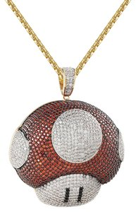 Master Of Bling 14k Gold Finish Red White Mario Mushroom Pendant Free Box Chain 24""
