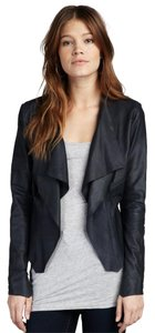 Bod & Christensen Leather Drape Ruffle Black Jacket