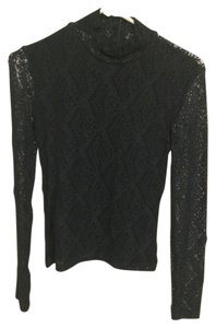 Bisou Bisou Lace Sexy Mock Turtleneck Top Black