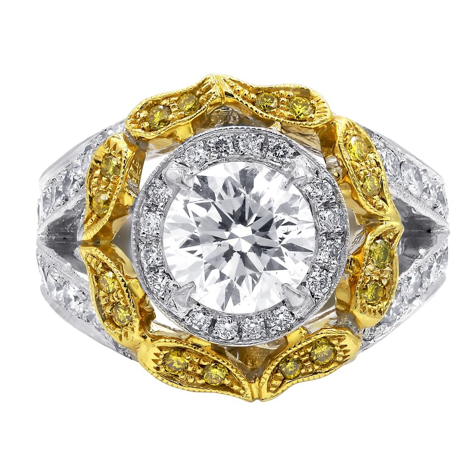 Yellow Gold Diamond Platinum: Platinum And 18 Karat Yellow Gold Diamond Rd1929