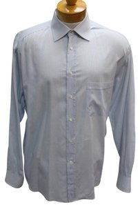Canali Versace Gucci Snake Chanel Vintage Button Down Shirt Light Blue Checker
