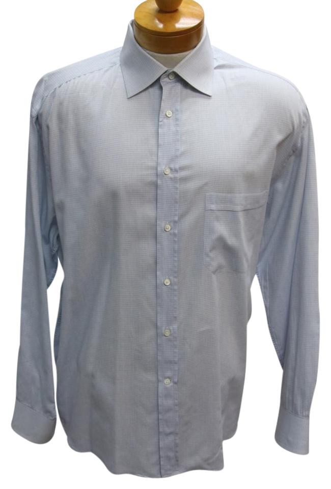 Canali light blue checker signature grid check classic fit for Light blue button down shirt