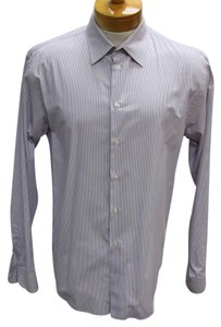 Armani Collezioni Versace Gucci Snake Chanel Vintage Button Down Shirt White/ Purple