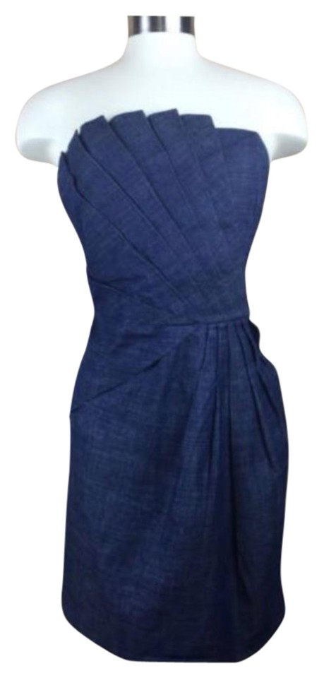 Romeo   Juliet Couture Denim Strapless Pleated Short Casual Dress ... 1b4fee4a143