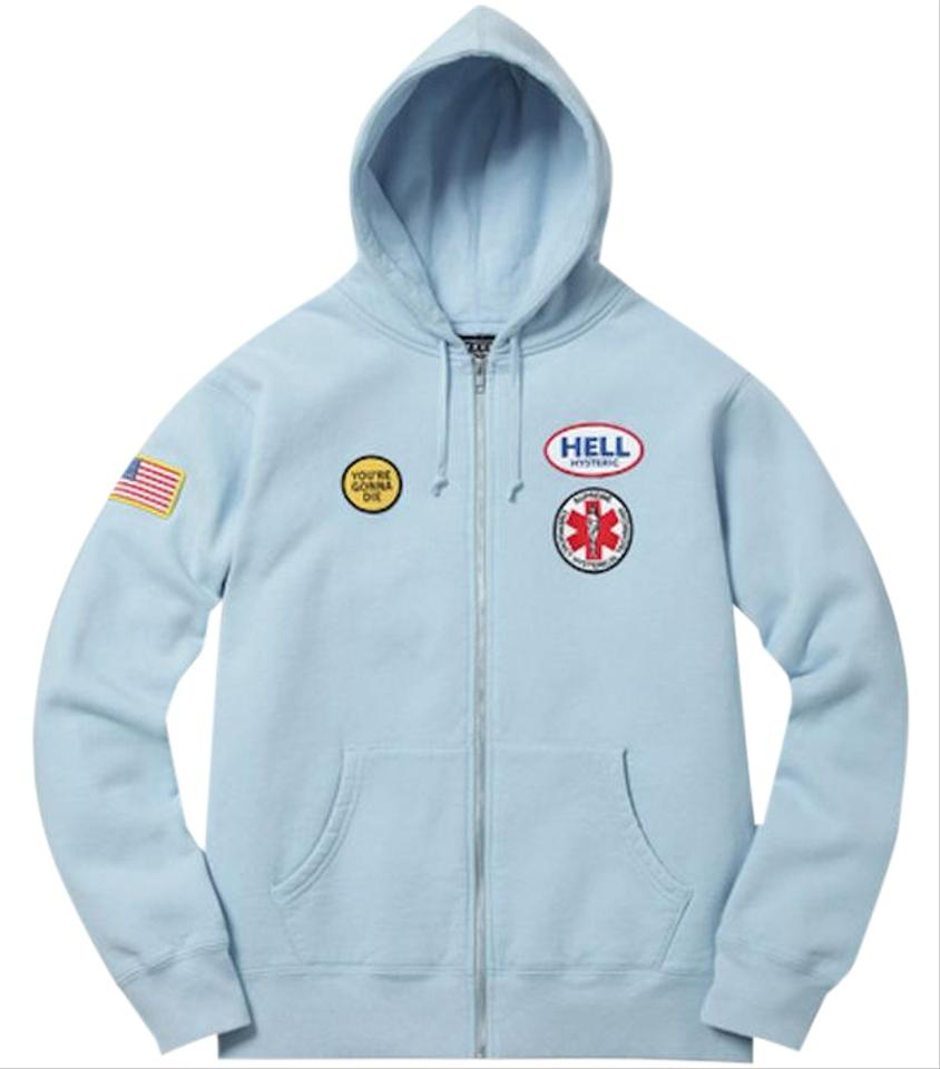 b4aef9f82d0b Supreme Light Blue Hysteric Glamour Patches Zip Up Sweatshirt Hoodie ...