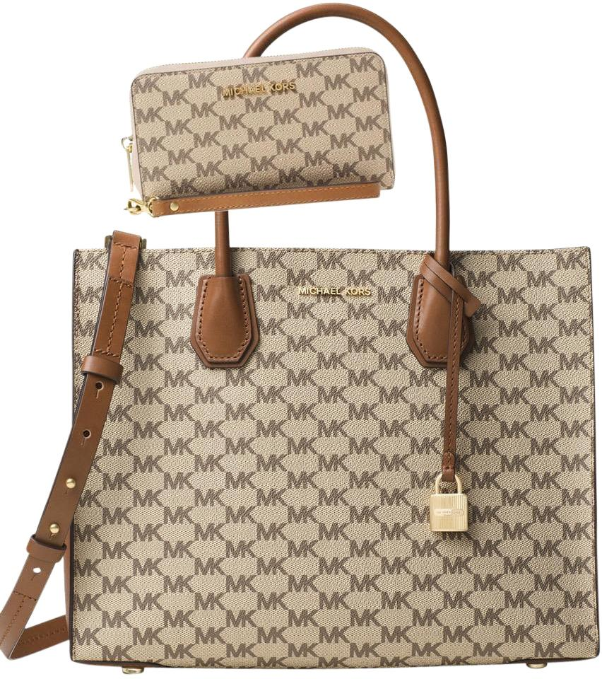 dcc7928ab440 Michael Kors Studio Mercer Large Convertible / Cherry Tote in  Natural/Luggage Image 0 ...