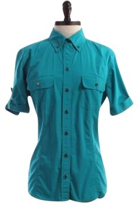 New York & Company Hot Cotton Button Down Shirt BLUE
