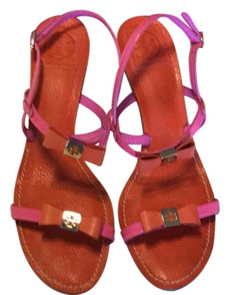 606b37500189 Tory Burch Pink   Orange Back Strap Sandals Size US 8.5 Regular (M ...