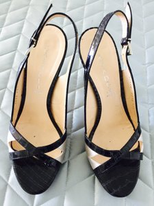 Casadei Crocodile Patten Leather black and offwhite Sandals