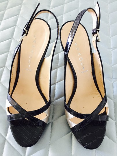 Casadei Crocodile Patten Leather Satin black and offwhite Sandals