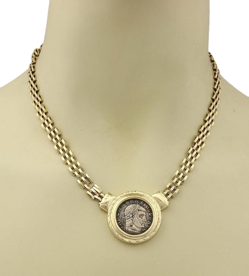 gallery roman paul gray necklace grey black coin product jewelry normal pendant in men lyst for