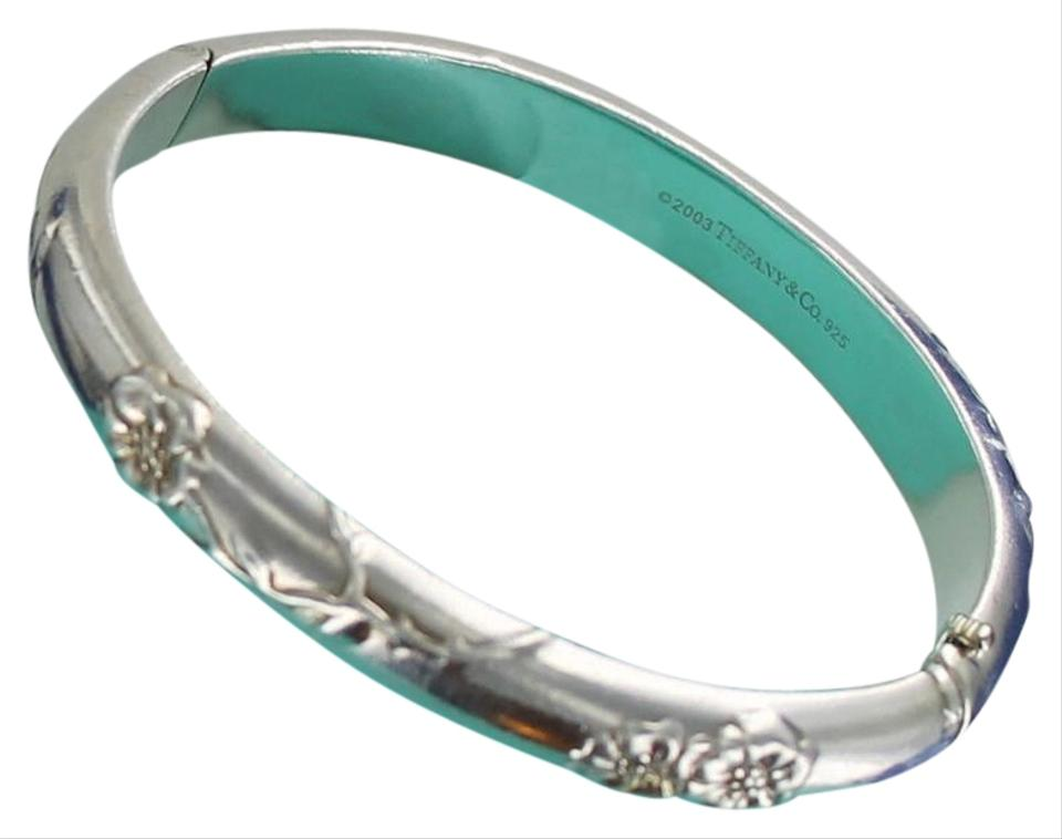 ce4106471 Tiffany & Co. Vintage TIFFANY Sterling Silver 925 Nature Rose Hinged Bangle  Bracelet Image 0 ...
