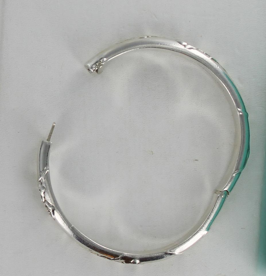 32aa1a880 Vintage TIFFANY Sterling Silver 925 Nature Rose Hinged Bangle Bracelet  Image 9. 12345678910