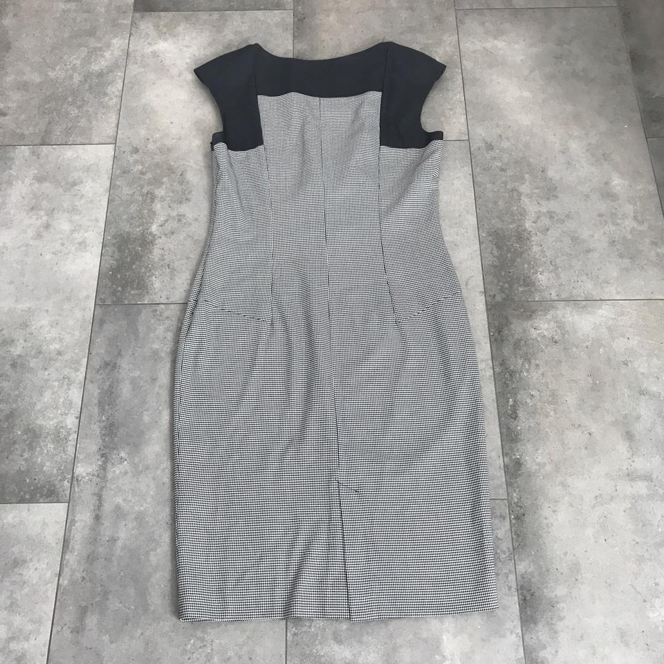 Zara Black and White Houndstooth Mid-length Cocktail Dress Size 8 (M ...