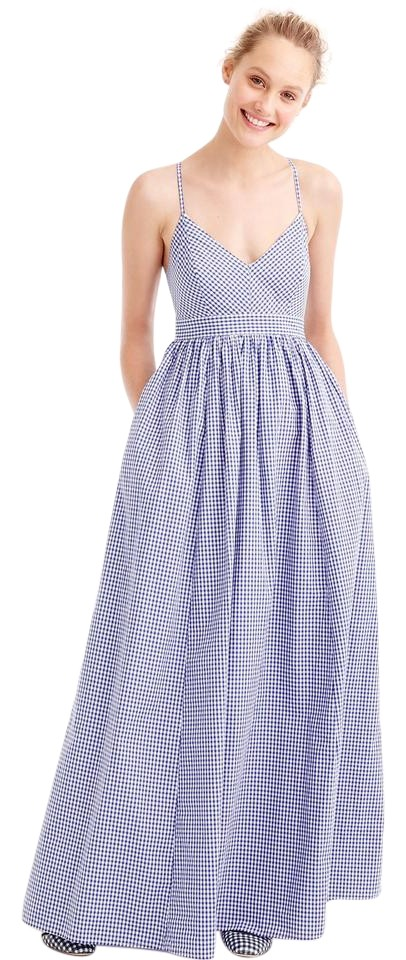 Gingham Blue Maxi Dress By J Crew Summer Rehearsal Tail