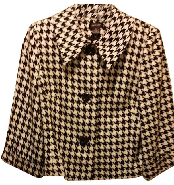 Spense Houndstooth Swing Jacket Black and White Blazer