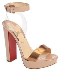 Christian Louboutin Platform Ankle Strap Leather Nude Sandals