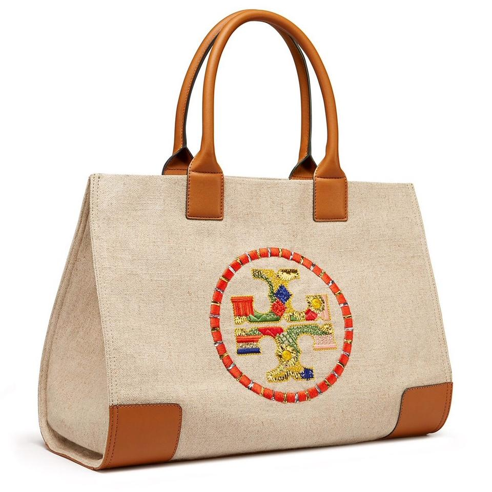 f7ac10c2d8d Tory Burch Embroidered Ella New Large Natural Canvas Tote - Tradesy