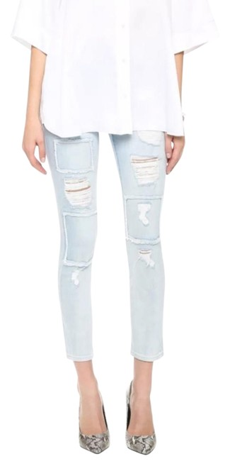 Item - Light Blue Wash Patched Distressed Skinny Jeans Size 26 (2, XS)