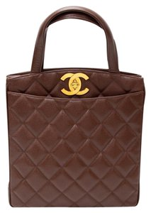 Chanel Caviar Leather Hand Tote in Brown