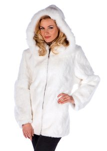 madisonavemall Real Fur Womens Fur Natural Fur Fur Hooded White Jacket