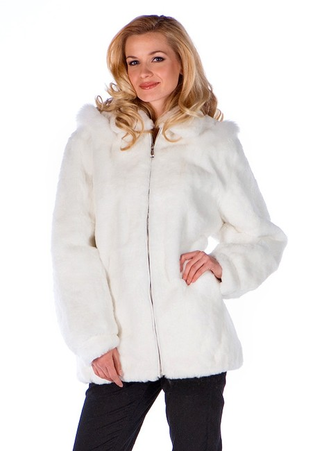 madisonavemall Real Fur Womens Fur Natural Fur Fur Hooded White Jacket Image 1
