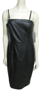 Nine West New Little M Party Genuine Real Leather Knee Length Strappy Sleeveless Dress