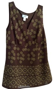 Ann Taylor Geometric Design Sleeveless Career Wear Business Top Brown