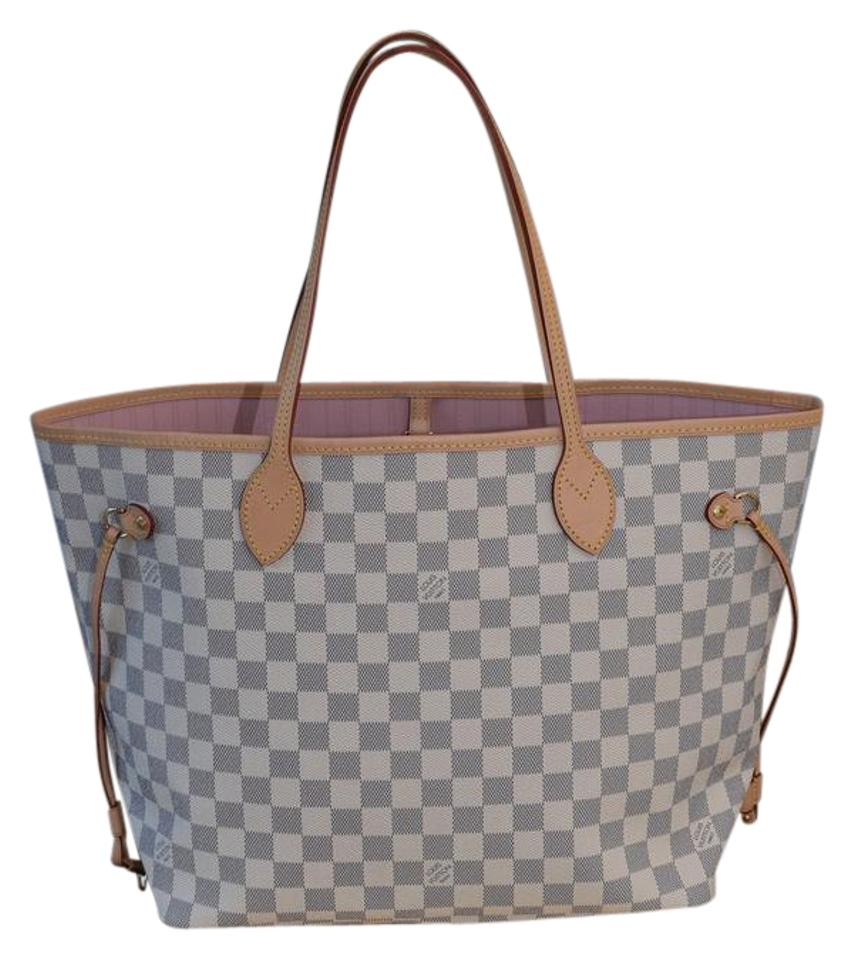 Louis Vuitton Neverfull Mm In Damier Azur With Pink Ballerine Lining