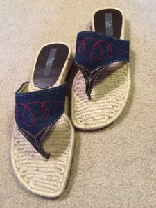 Folio Leather Trim Stitched Nyc Jute Sole Denim Blue Brown Red Sandals