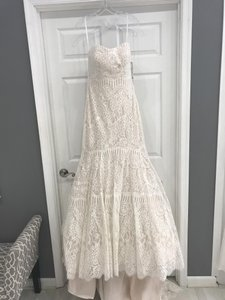 Allure Bridals Champagne/Ivory Lace 9259 Formal Wedding Dress Size 8 (M)