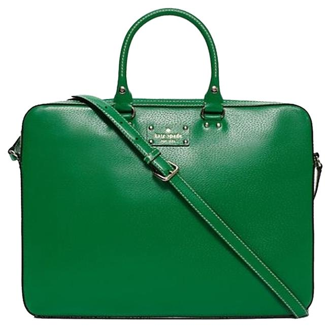 Item - Wellesley Tanner Emerald Green Leather Laptop Bag