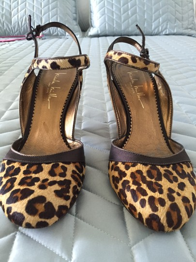Nicole Miller Satin Silk Pupms leopard brown, gold, beige Pumps Image 8