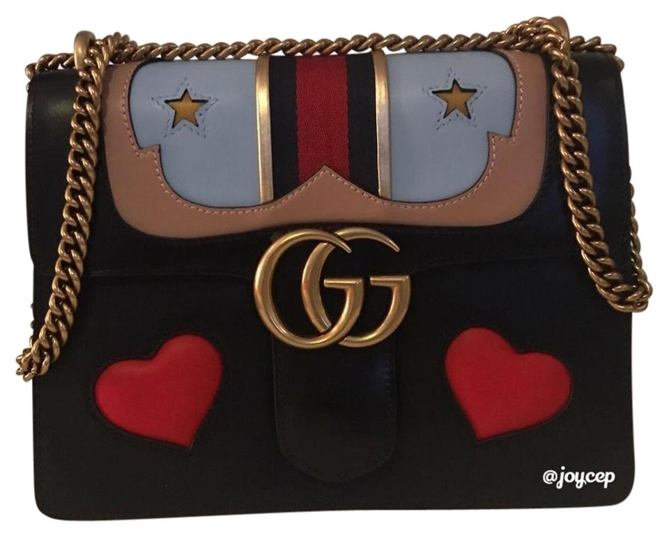 36284e143b118 Gucci Marmont New Gg Medium Heart Black Multi Leather Shoulder Bag ...
