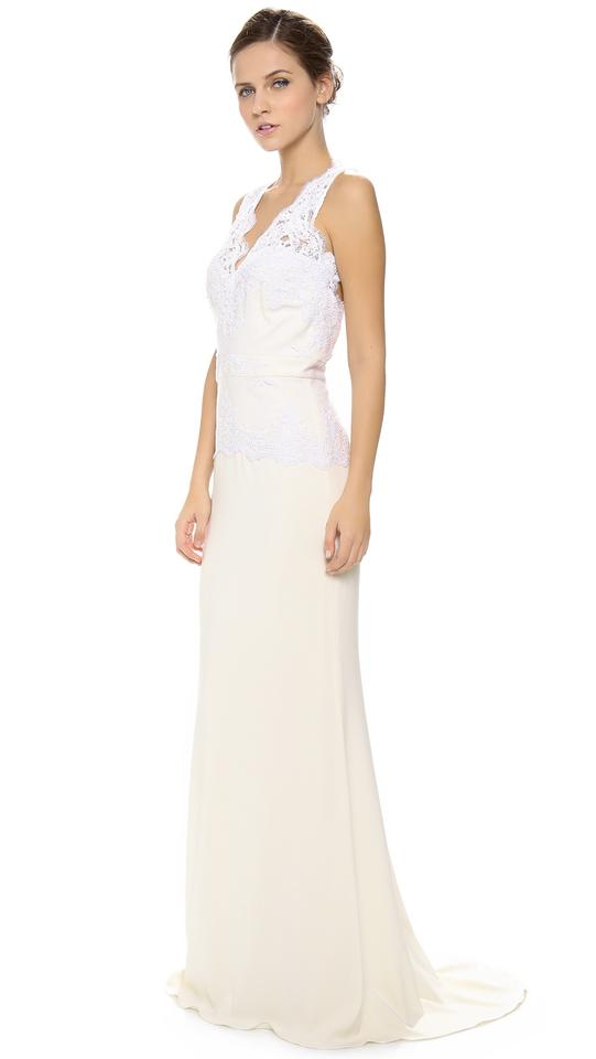 Badgley Mischka Stretch Crepe / Lace Open Back Peplum Gown Feminine ...