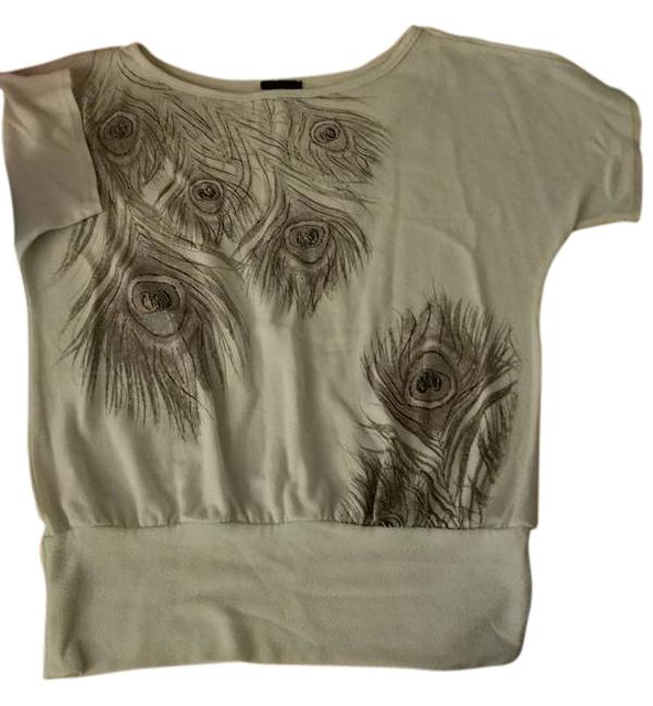 Item - White Purple Pink Gold Peacock Feather Blouse Size 6 (S)