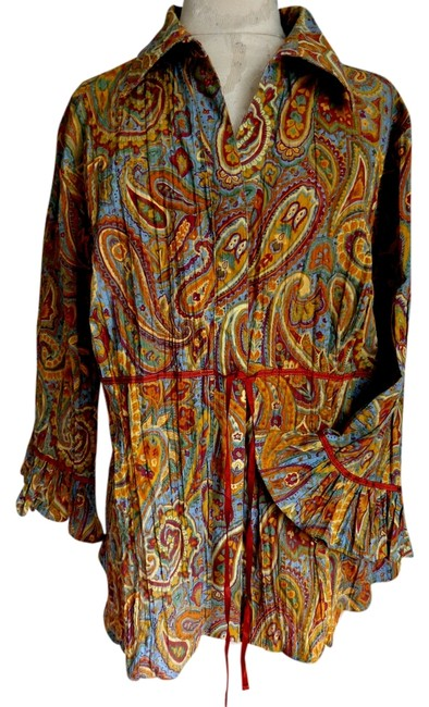 Northstyle Tunic Crinkle Paisley Button Down Shirt multi