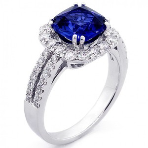 Blue 2.75 Cts Cushion Cut Gemstone with Halo Engagement Ring