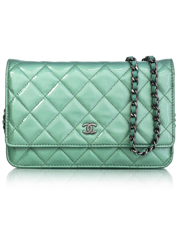 269bd342e51f Chanel Wallet on Chain Seafoam Green Patent Leather Cross Body Bag ...