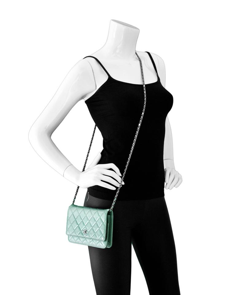 50212e17bfec Chanel Wallet on Chain Seafoam Green Patent Leather Cross Body Bag ...